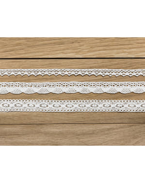 3 White Lace Trim Decorations, 2 Widths - Natural Wedding
