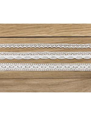 3 Hvide Blondebånd Dekorationer, 2 Bredder - Natural Wedding