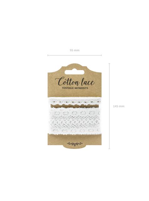 2 dentelles blanches de 2 largeurs différentes pour la décoration - Natural Wedding