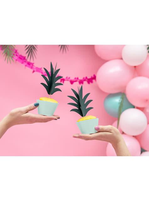 6 palillos decorativos de piña - Aloha Turquoise - para niños y adultos