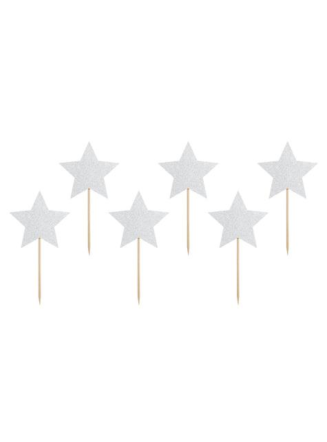 6 Silver Star Food Picks - Unicorn Collection