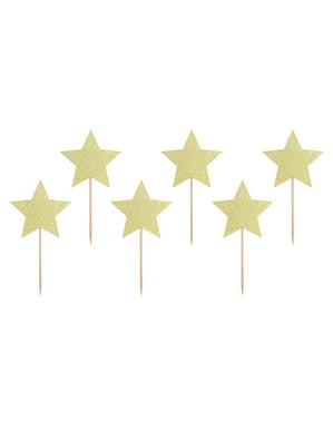 6 toppers decorativos con forma de estrella