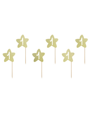 "6 клечки за хапки със златиста звезда ""1""– Pink 1st Birthday"