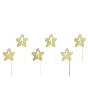 """6'lı """"1"""" Altın Yıldız Yiyecek Seçimi Seti - Pembe 1. Doğum Günü"""