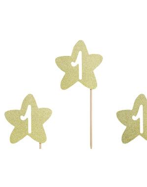 Zestaw 6 pikery dekoracyjne złota gwiazdka