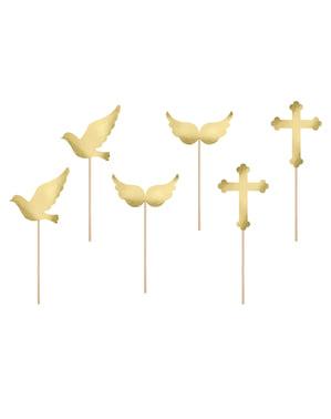 Zestaw 6 złote pikery dekoracyjne Pierwsza Komunia różne wzory - First Communion