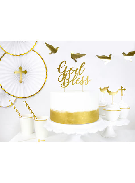 6 Assorted First Communion Food Picks, Gold - First Communion