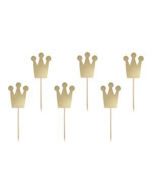 Zestaw 6 pikery dekoracyjne złota korona - Princess Party
