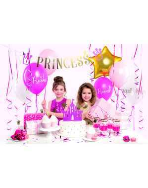 6 stuzzicadenti decorativi con corone dorate - Princess Party