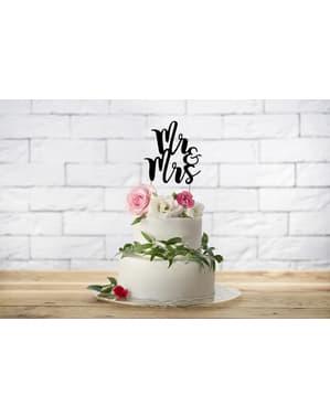 """""""श्री और श्रीमती"""" केक सजावट काले रंग में"""