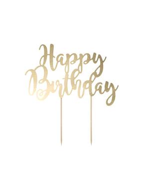 """""""Happy Birthday"""" dekoracija torta v zlatu - Black & White"""
