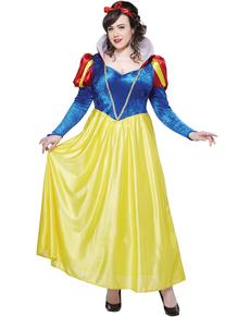Costum Albă ca Zăpada deluxe pentru femeie mărime mare