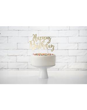 """Златиста украса за торта """"Happy Birthday""""– Black & White"""