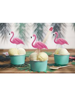 6 bețișoare decorative cu flamingo - Flamingos