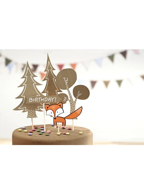 5 decoraciones para tarta de papel - Woodland Collection - para tus fiestas