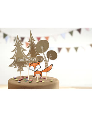 5 Assorted Cake Toppers - Woodland Collection
