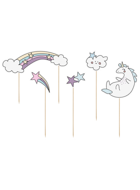 5 toppers variados de unicornio - Unicorn Collection