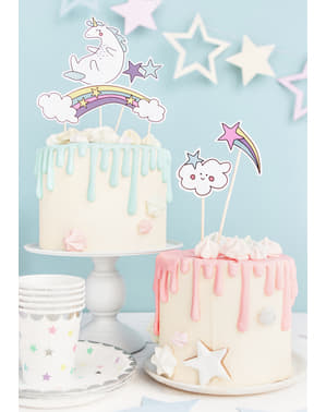 5 Assorted Unicorn Cake Toppers - Unicorn Collection