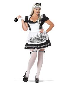 Costum Alice negru cu alb pentru femeie mărime mare