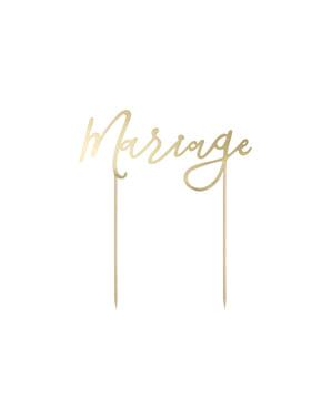 """Украса за торта """"Marriage""""– White & Gold Wedding"""