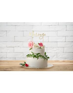 「結婚」ケーキデコレーション - ホワイト&ゴールドウェディング