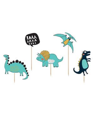 Sett med 5 Dinosaur Kaketopper - Dinosaur Party