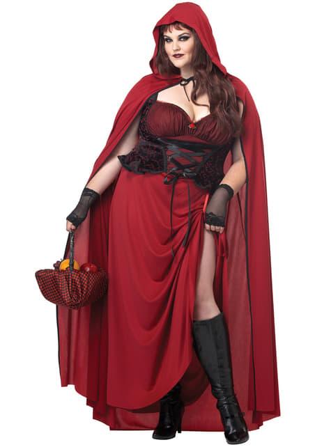 Sötét, plusz méretű kis vörös lovas hood női ruha