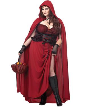 Donkere grote maat Roodkapje kostuum voor vrouw