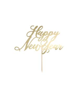 """Dekorácia tortu """"Šťastný Nový Rok"""" v zlate - Nový rok"""