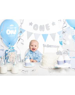 """""""Prvi rođendan"""" torta ukras u bijelo - plavi prvi rođendan"""