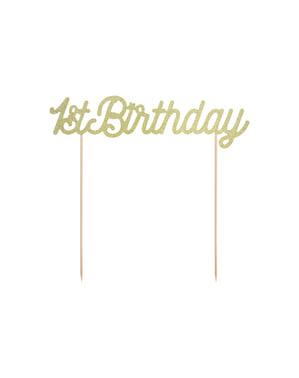 """""""Prvi rođendan"""" torta ukras u zlatu - Pink prvi rođendan"""