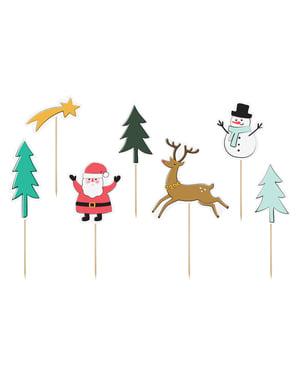 Zestaw 7 pikery dekoracyjne motyw świąteczny różne wzory - Merry Xmas Collection