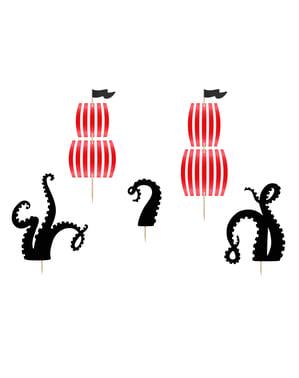 5 figure decorative per torta a tema barca - Pirates Party