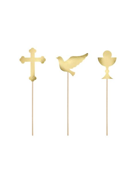 6 decoraciones para tarta doradas - First Communion
