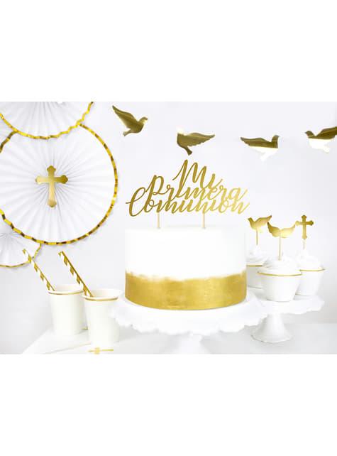 6 decoraciones para tarta doradas - First Communion - para tus fiestas