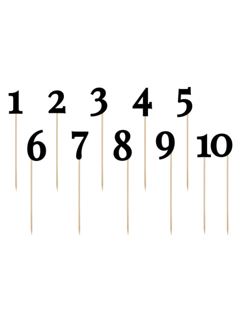 11 marcasitios con números para mesa negros - Rustic Collection