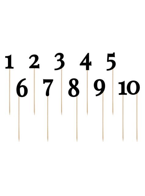 11 piques chiffres pour la table noirs - Rustic Collection