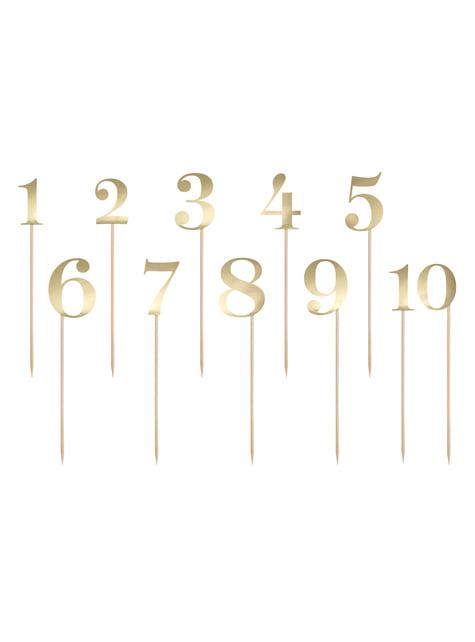 11 piques chiffres pour la table dorés - Rustic Collection