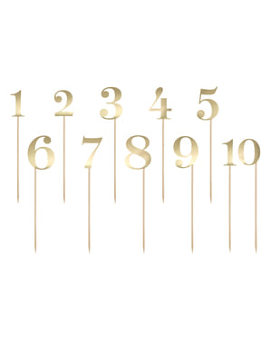 11 palitos com números para mesa dourados - Rustic Collection