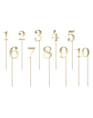 Sett med 11 Bordnummer Pinner, Gull - Rustic Collection