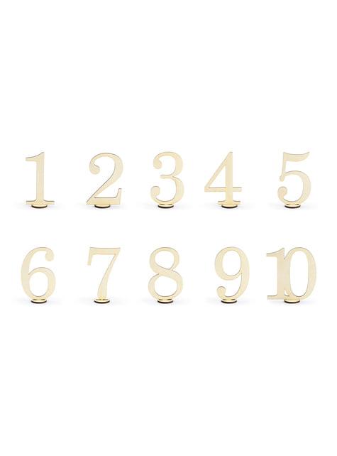 10 marcasitios con números para mesa dorados - Rustic Collection