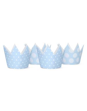 4 kroon feesthoedjes met blauwe stippen - Blauwe 1ste Verjaardag