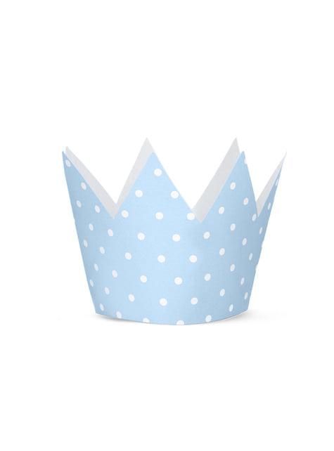4 chapeaux  en forme de couronne à pois bleus - Blue 1st Birthday