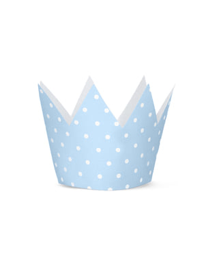 4 Crown Party Hats with Blue Dots - Blue 1st Birthday