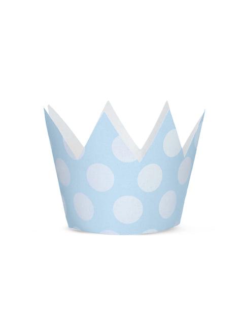 4 cappellini a forma di corona con pois azzurri - Blue 1st Birthday