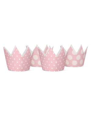 4 kruununmuotoista juhlahattua pinkeillä täplillä - Pink 1st Birthday