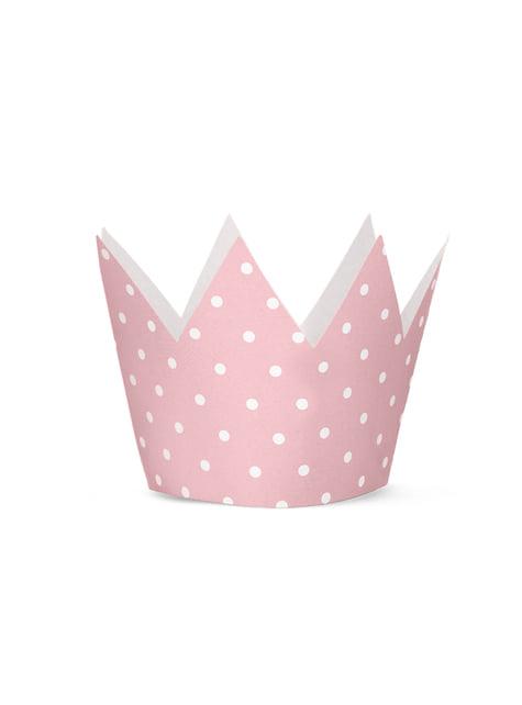 4 gorritos con forma de corona con lunares rosas - Pink 1st Birthday - para tus fiestas