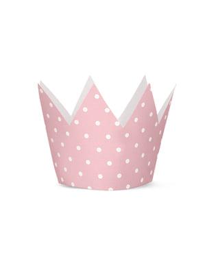 Set 4 party korun s růžovými puntíky - Pink 1st Birthday