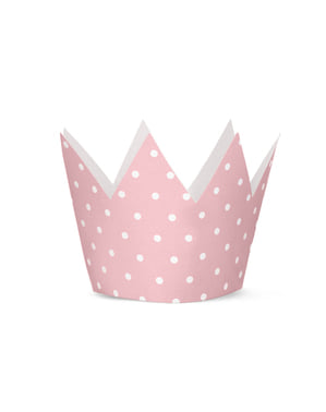 4 Crown Party Hats with Pink Dots - Pink 1st Birthday