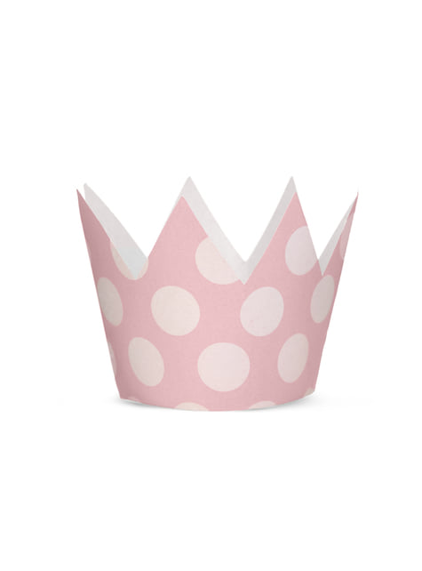 4 gorritos con forma de corona con lunares rosas - Pink 1st Birthday - barato